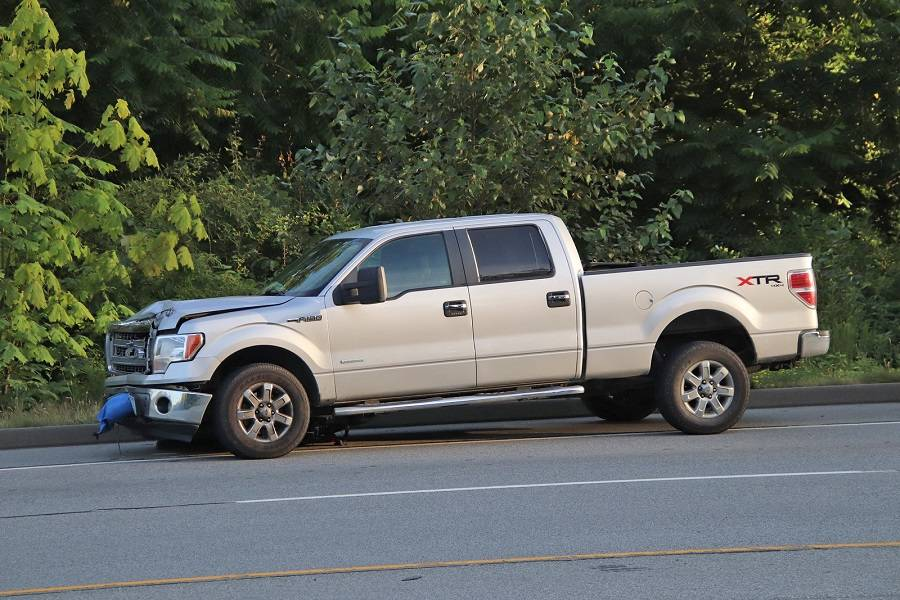 A 23-year-old woman was killed after being struck and knocked off her bicycle by a grey Ford pickup truck in Maple Ridge on Monday, July 20, 2020. The driver of the pickup remained on scene. (Shane MacKichan/Special to The News)