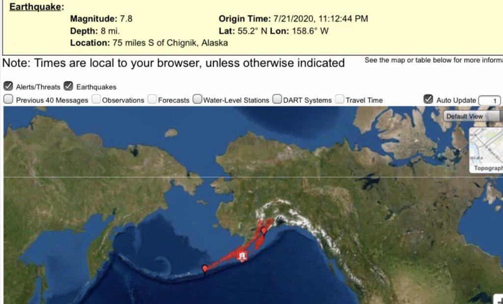A screen shot of the tsunami.gov website shows the areas of coastal Alaska under tsunami advisories or warnings following a magnitude 7.4 earthquake late July 21, 2020. Coastal British Columbia is not under threat of tsunami. (SCREENSHOT)