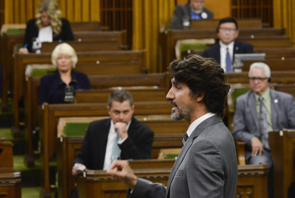 Prime Minister Justin Trudeau talks during question period in the House of Commons on Parliament Hill in Ottawa on Tuesday, July 21, 2020. THE CANADIAN PRESS/Sean Kilpatrick