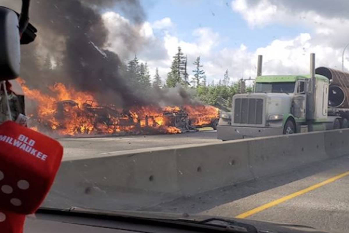 Truck fire on Coquihalla. Image: Facebook