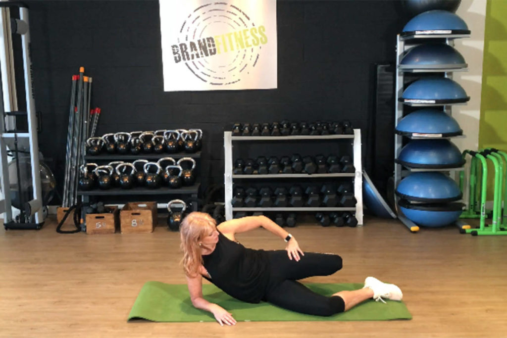 Marion Brand, owner of Brand Fitness in Langley, guides readers through a core exercise and stretches in this week's edition of Workout Wednesday hosted by Langley Advance Times. (Brand Fitness video screen shot)