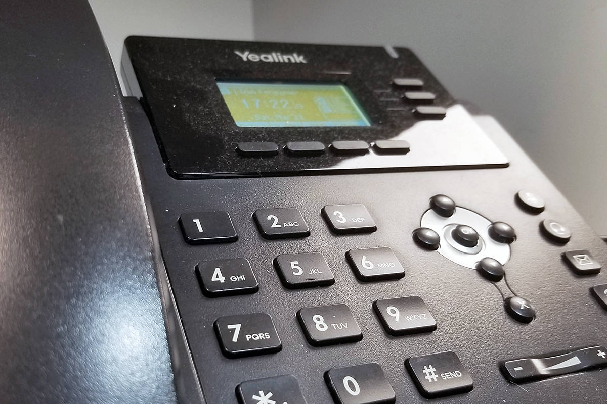 There is a new phone scam telling people they have been in contact with someone with COVID-19. The caller asks for a home address, and credit card information for a $50 testing kit to be shipped out. (Dan Ferguson/Langley Advance Times)