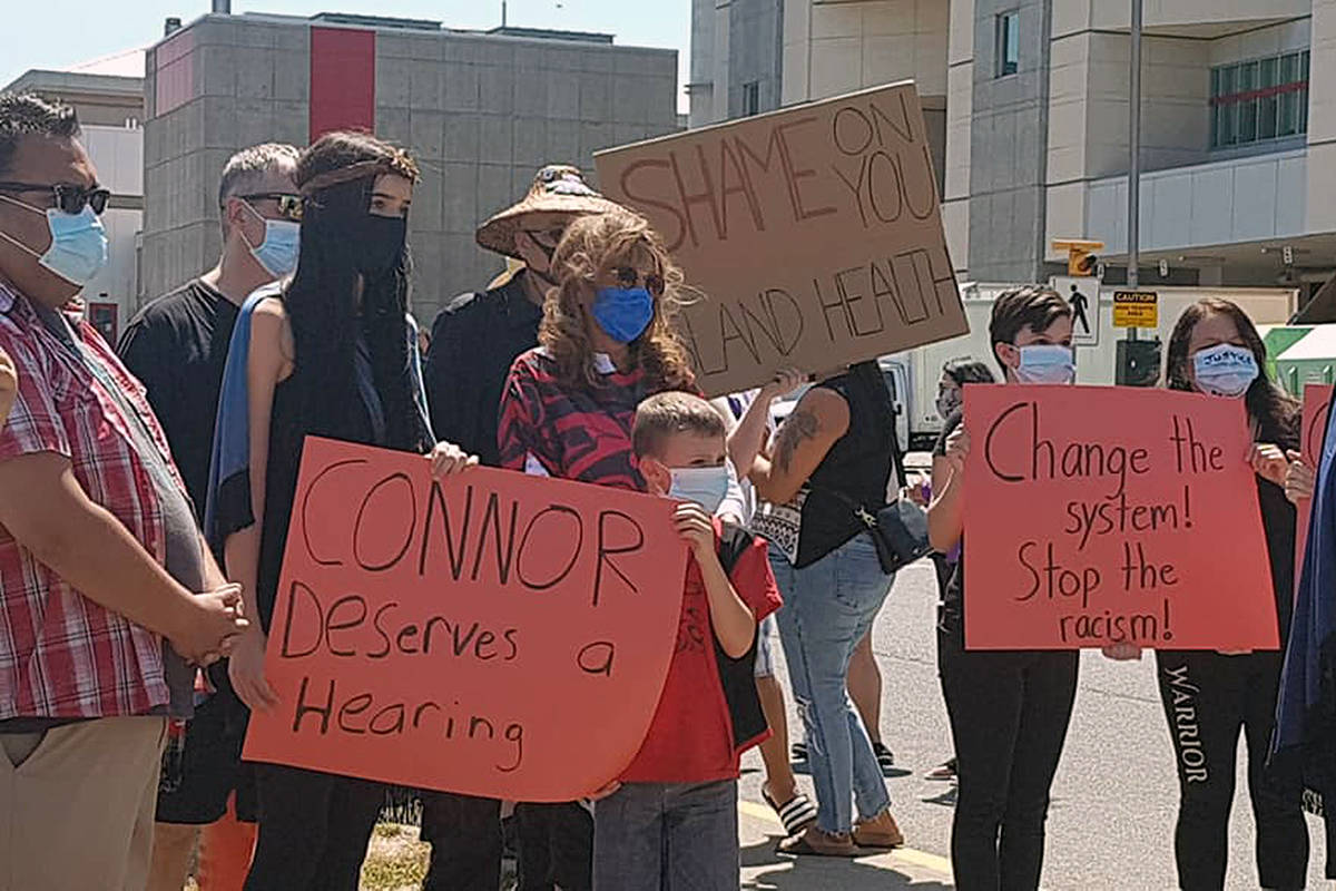 Around 40 people showed their support for Connor Sutton and his family outside Royal Jubilee Hospital in Victoria on July 21, 2020. (Veronica Vander Heiden photo)