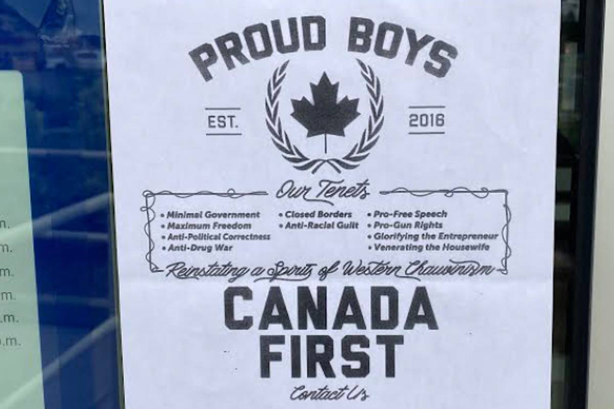 On June 11, Kyle Mardon came across this Proud Boys poster affixed to the outside of the door to the Royal Bank in Sahali. (KTW)