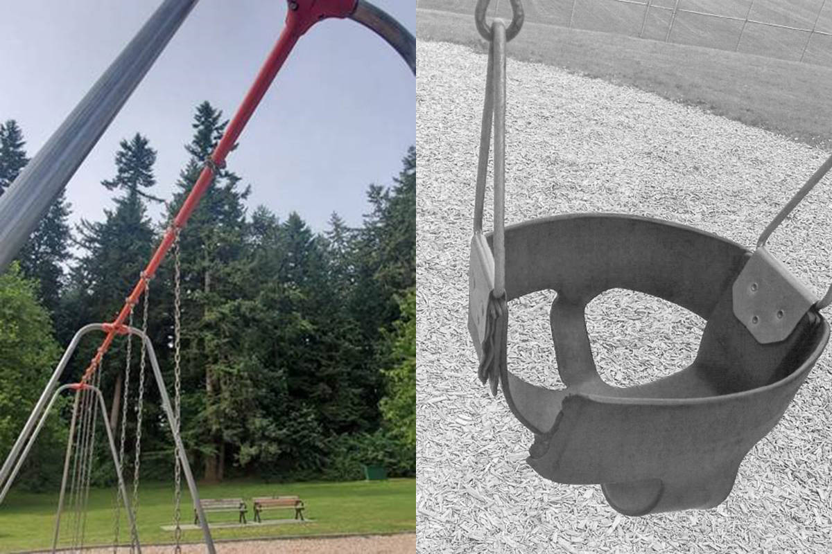 Vandals have damaged swing sets in playgrounds in Abbotsford five times since May. Abbotsford Police photo