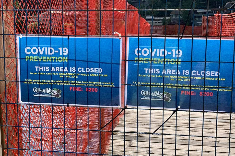 """Two of the wider """"fingers"""" of the dock structure at Main Beach were closed by the Cultus Lake Parks Board on July 23, 2020, likely for the duration of the summer. The rest of the dock space is open for use. (Cultus Lake Community Association photo)"""