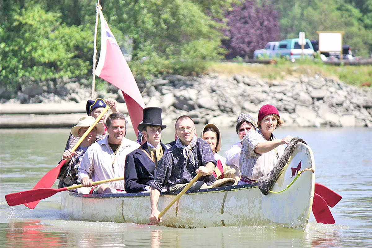 A re-enactment of the arrival of the fur brigades during a previous Brigade Days in Fort Langley. (Langley Advance Times files)