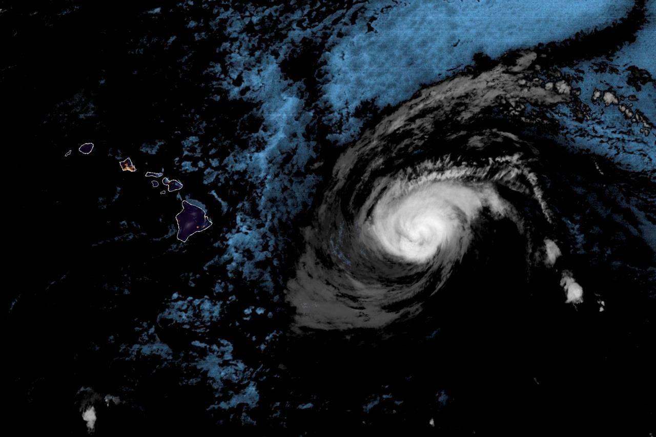 Hurricane Douglas was 440 miles (705 kilometres) east of Hilo early Saturday, July 25, 2020 (The Associated Press)