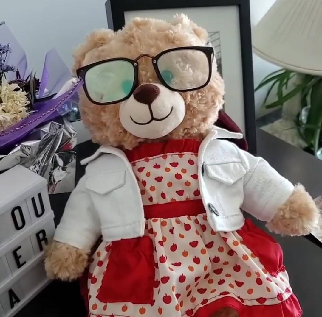 Mara Soriano says 'Mommabear,' a bear with a recording of her mother's voice, was stolen in Vancouver on Friday, July 24, 2020. Soriano's mother passed away last year. (Mara Soriano)