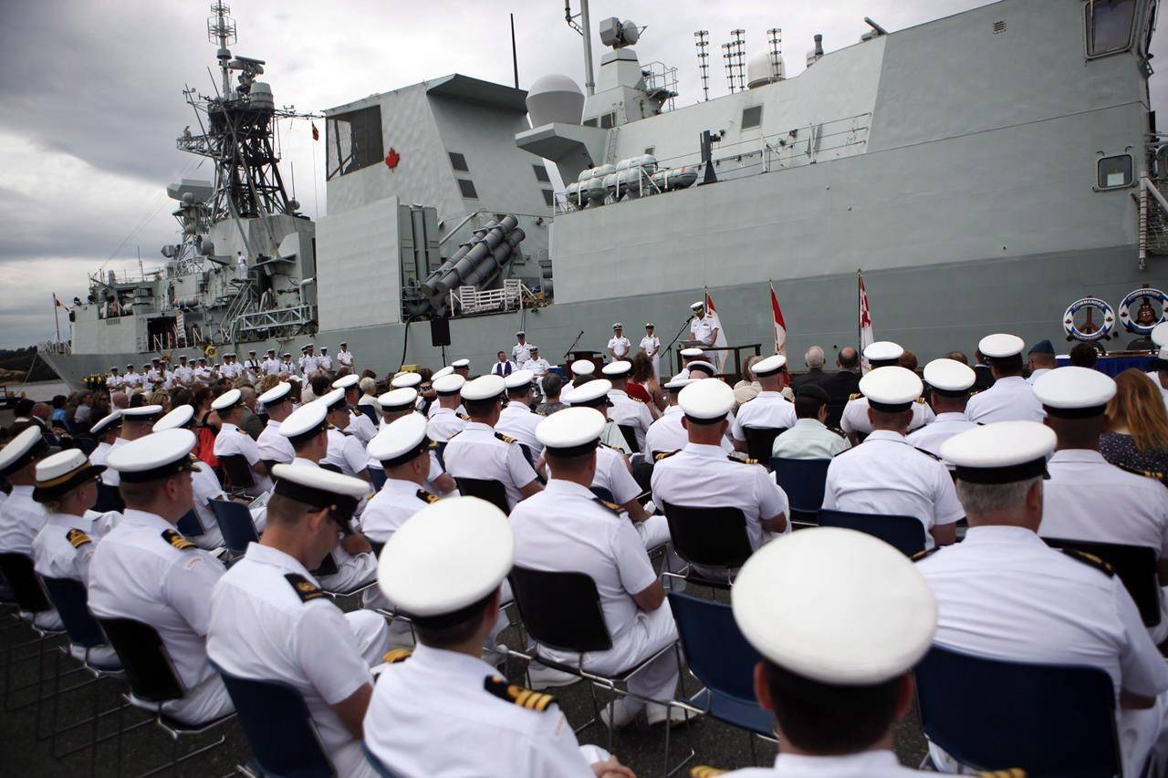 FILE – Rear-Admiral Bill Truelove will preside over the changing of command from Commodore Bob Auchterlonie to Captain (Navy) Jeffery Zwick CFB Esquimalt on board the HMCS Calgary, in Esquimalt B.C., on June 24, 2015. THE CANADIAN PRESS/Chad Hipolito