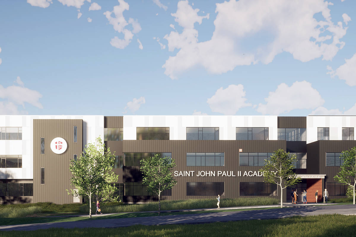 An artist's rendering of St. John Paul II Academy, a Catholic high school set to be built on 24 Avenue in South Surrey. (Contributed image)
