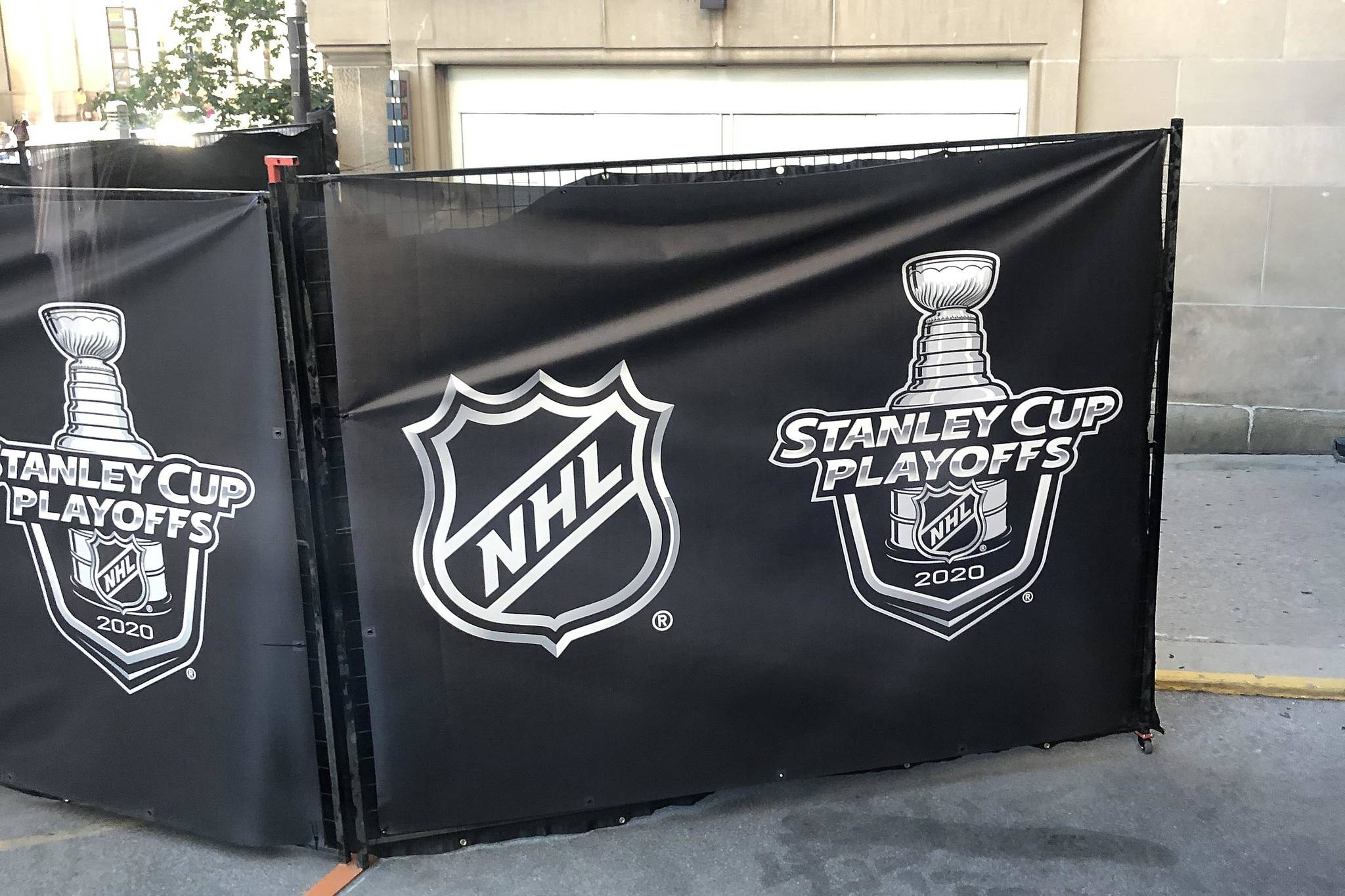 Behind this temporary wall is the 'NHL bubble', where once players and officials get behind it, they will be isolated due to special COVID-19 restrictions. (PHOTO COURTESY ROB SHICK)