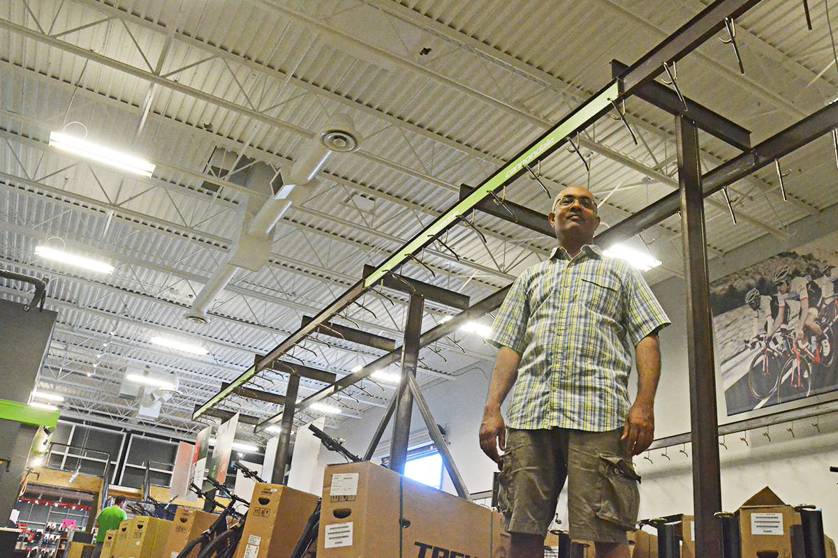 "Langley Bicycle Sports Pacific owner Kamlesh Chouhan said normally the racks in his store would have hundreds of bicycles, but there is simply no product to be had after the ""hyper-purchasing"" early in the pandemic. (Matthew Claxton/Langley Advance Times)"