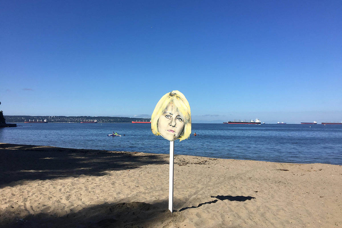 A cutout of provincial health officer Dr. Bonnie Henry was put up at Third Beach in Vancouver following widely circulated photos of a large drum circle there on July 21, 2020. (rediphile/Reddit)