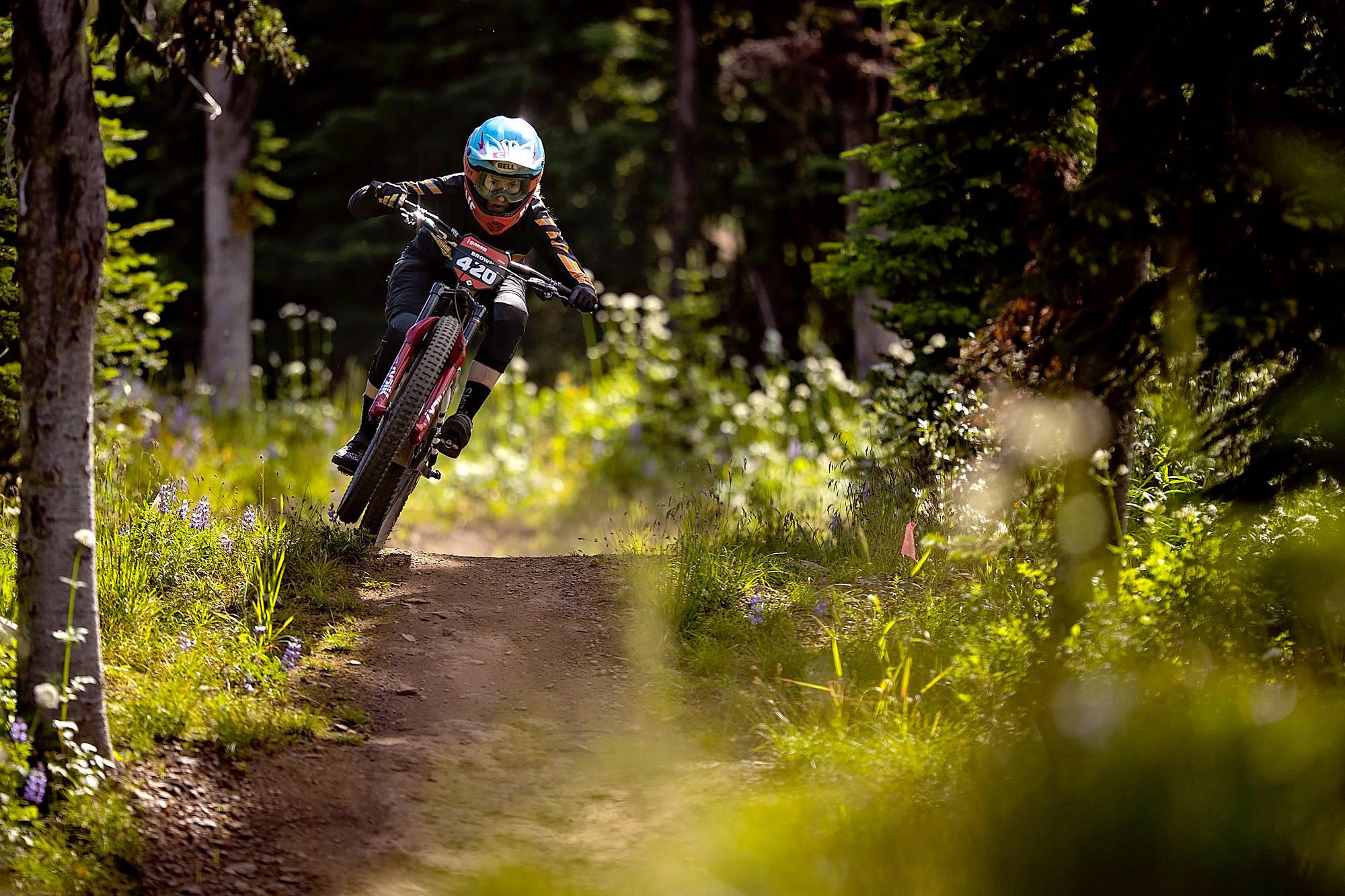 Casey Brown riding Trek at SilverStar Mountain Resort during CLIF Crankworx Tuesday, July 28. (Clint Trahan photo)