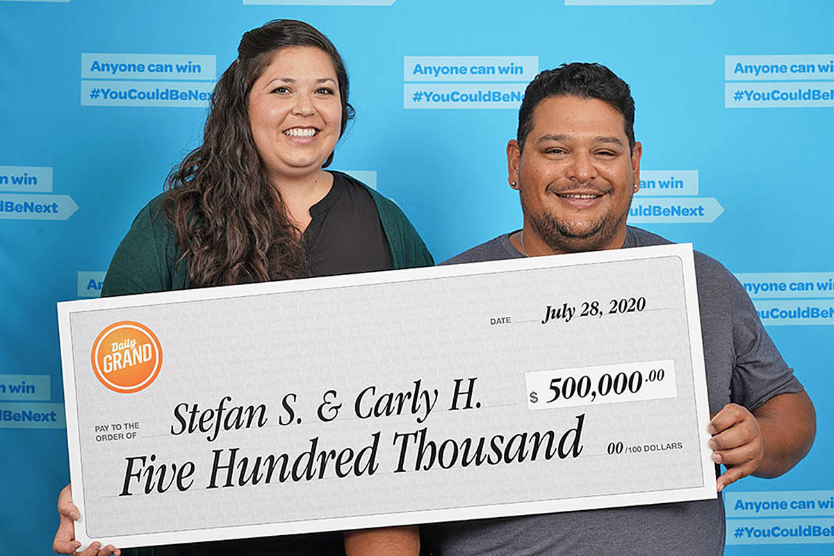 Langley's Carly Higo and Stefan Steinebach won $500,000 in the July 16, 2020 Daily Grand draw. (BCLC photo)