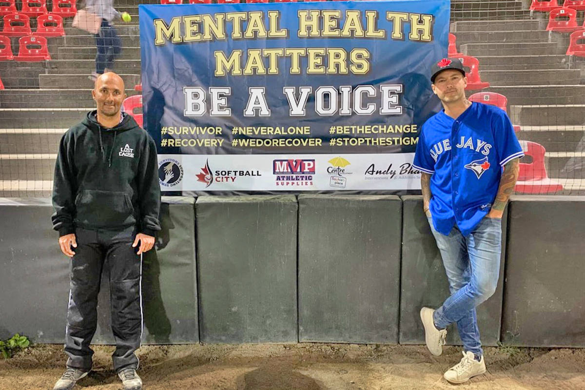 Aldergrove mental health advocate Andy Bhatti (left) stands with Langley country singer Dallas Smith before the charity baseball game at Softball City on Saturday, July 25. (Andy Bhatti/Special to the Star)