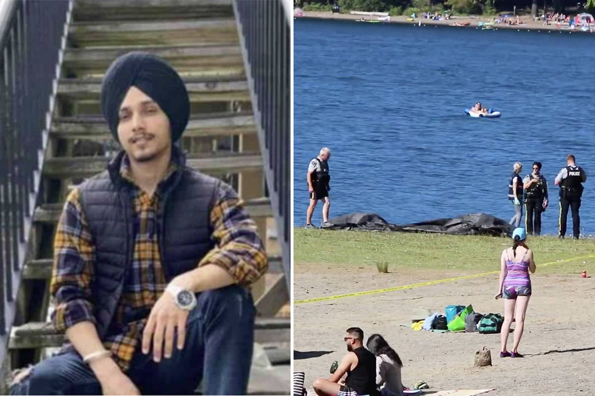 Manpreet Singh (left) drowned after going under water in Entrance Bay in Cultus Lake Provincial Park on Saturday, July 25, 2020. Cultus Lake Fire Department, BCEHS, Chilliwack SAR and RCMP all responded to the scene. (Left: GoFundMe photo; Right: Shane MacKichan video still)
