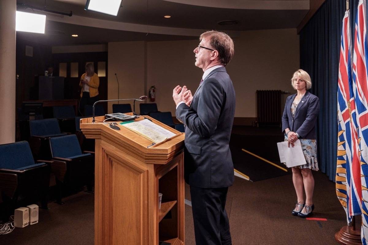 B.C. Health Minister Adrian Dix and provincial health officer Dr. Bonnie Henry update the COVID-19 situation, B.C. legislature, July 20, 2020. (B.C. government)