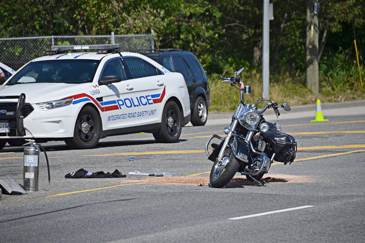 A motorcyclist was taken to hospital on Canada Day last year after a collision at the Gloucester Industrial Park area. (Curtis Kreklau/Special to Langley Advance Times)