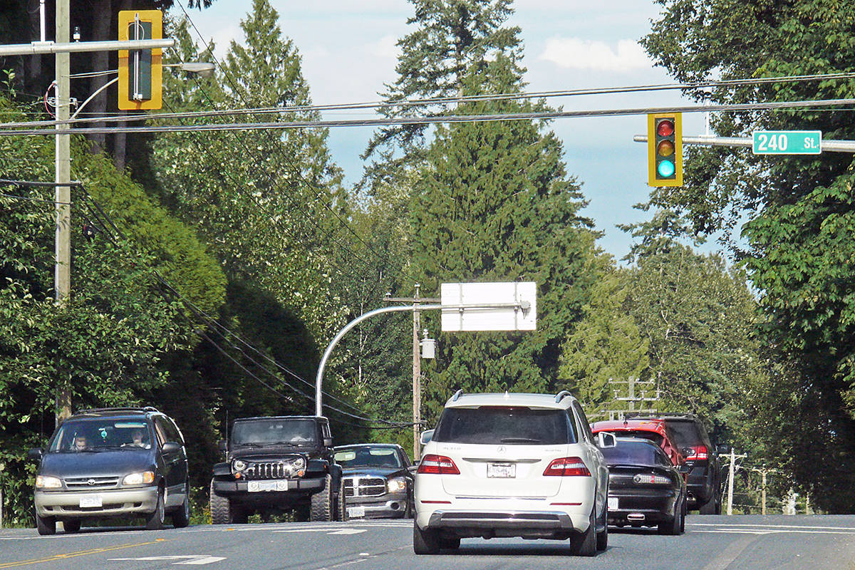 Traffic lines up at the new signals on 240 Street and 16 Avenue on Sunday, Aug. 2. New ICBC figures released on July 28, 2020, show the addition of three new traffic lights appears to have reduced crashes along the busy arterial. (Dan Ferguson/Langley Advance Times)