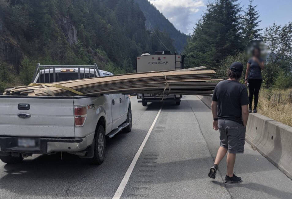 A B.C. cyclist says he is in the hospital with a number of broken bones after getting hit from behind by an unsecured load of lumber on the back of a truck that was driving on Highway 99 on Aug. 3, 2020. (Todd Nickel/Twitter)