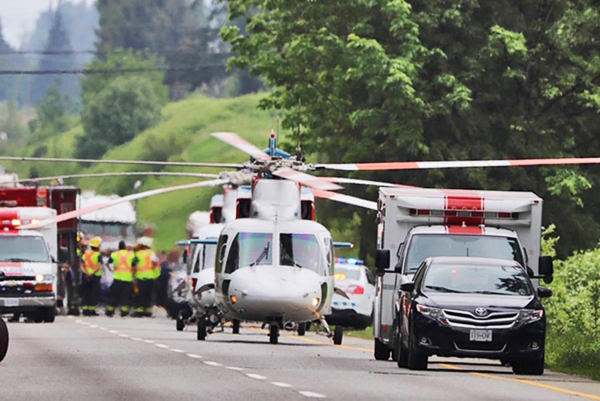 May 12, 2019, saw a large emergency response to a Highway 1 crash near 264 Street. (Shane MacKichan)