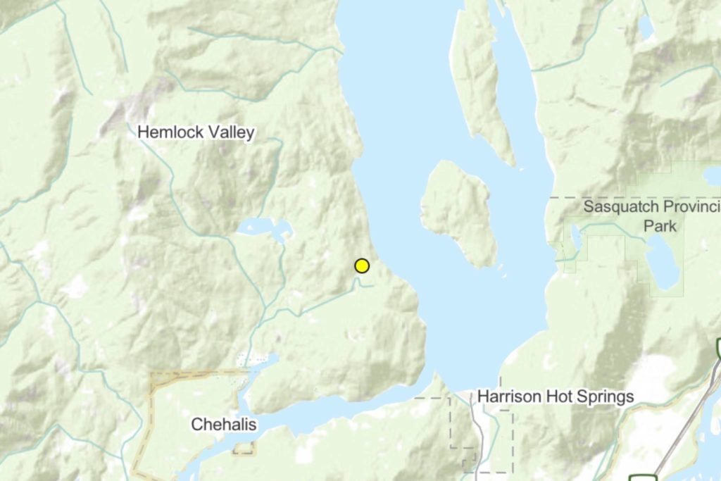 The yellow dot indicates the site of the Sts'ailes FSR fire. The fire has been downgraded to 'being held' from its previous status of 'out of control' as of Wednesday afternoon. (Screenshot/B.C. Wildfire Service)