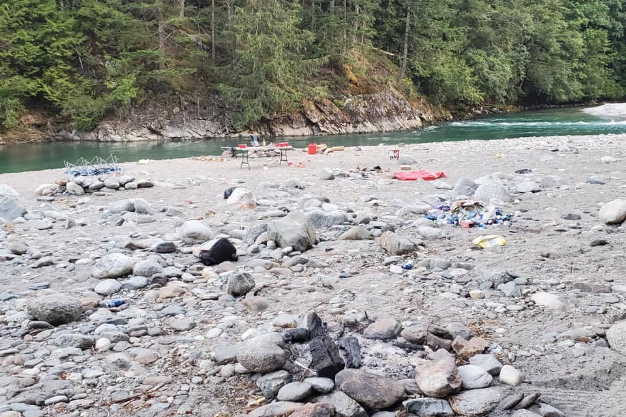 Dee Hudson's Facebook post of copious amounts of garbage at a Harrison campsite has garnered online attention this week. Hudson's group cleaned up as much as they could; the Facebook community expressed outrage and disgust at the partygoers' behaviour. (Contributed photos/Dee Hudson)