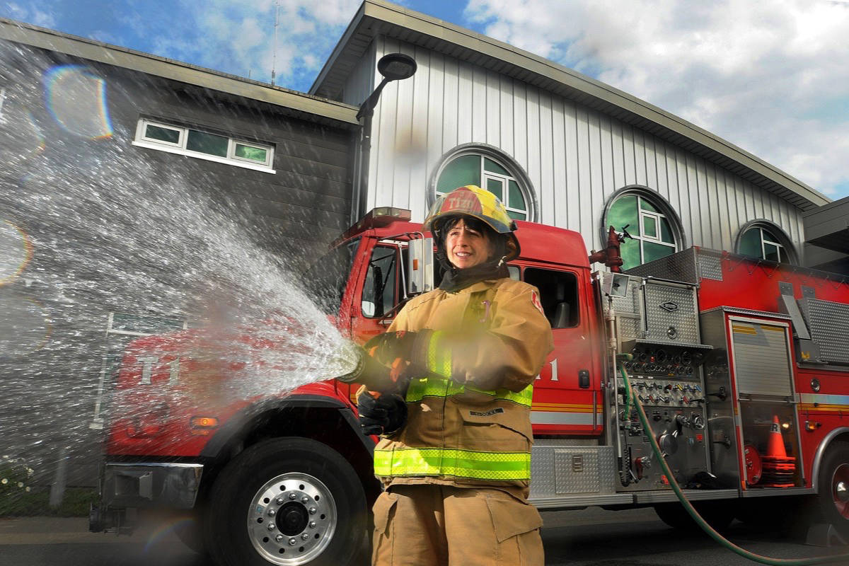 Camp Ignite director and Maple Ridge firefighter Mary Foster wants to see more female career firefighters. (Colleen Flanagan/THE NEWS)