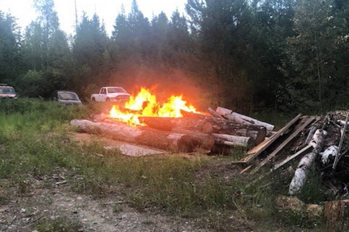 Arson is likely cause of a string of fires set in Marsh Creek near Fruitvale on Friday night. (Kootenay Boundary Regional Fire and Rescue photo)