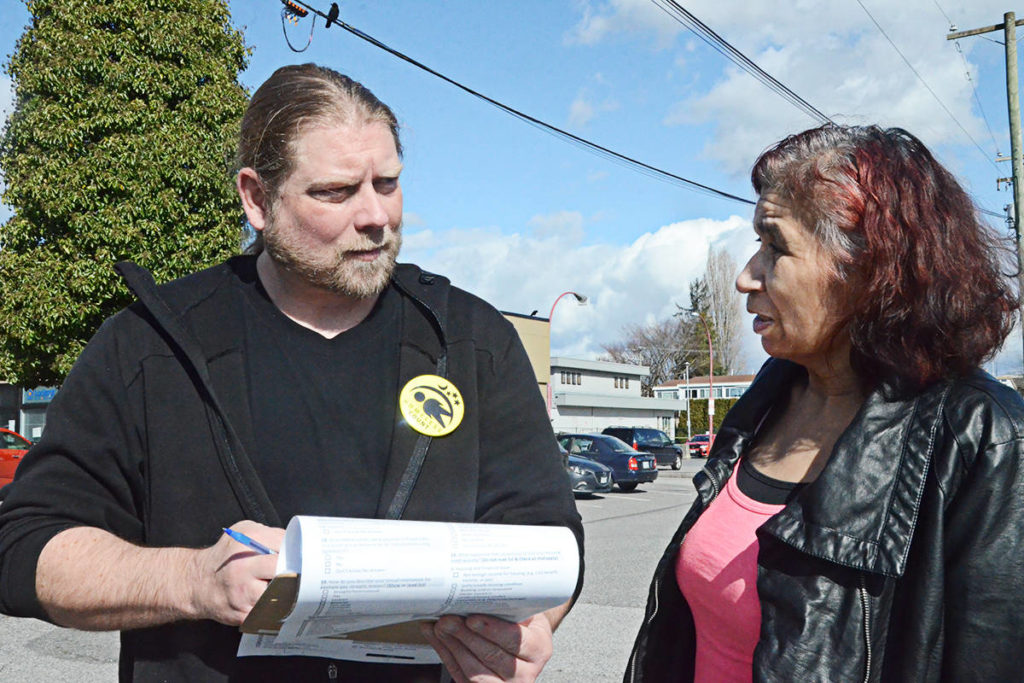 Homeless outreach worker Fraser Holland spoke with Christine Johnstone during the March 3 and 4 homelessness count in Langley. Homeless numbers did not change much despite the creation of more supportive housing. (Matthew Claxton/Langley Advance TImes)