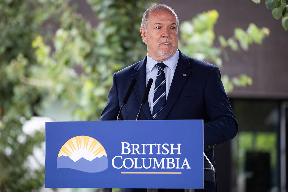 British Columbia Premier John Horgan speaks during an announcement about a new regional cancer centre, in Surrey, B.C., on Thursday, August 6, 2020. THE CANADIAN PRESS/Darryl Dyck