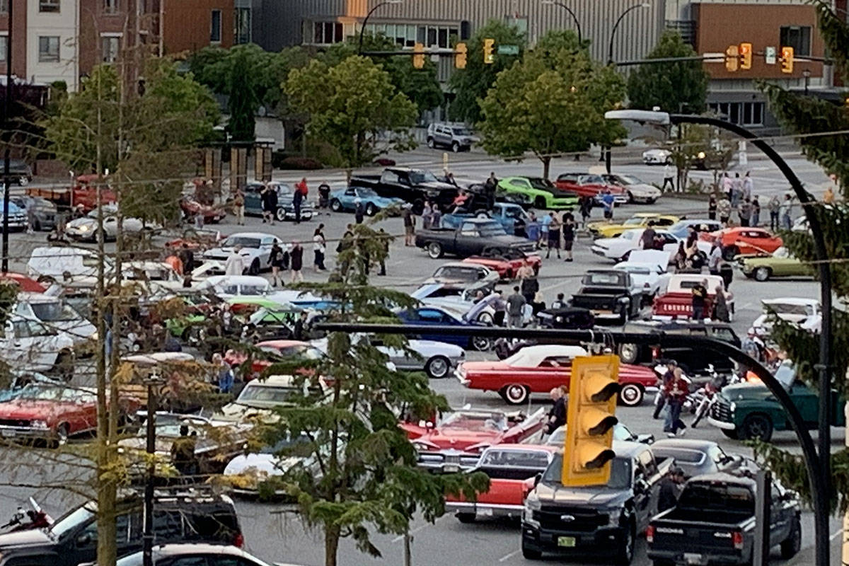 An unofficial car show has been popping up on Friday evenings at the Langley Mall, but police say it won't go ahead this week. (Mike Parker/Special to the Langley Advance Times)