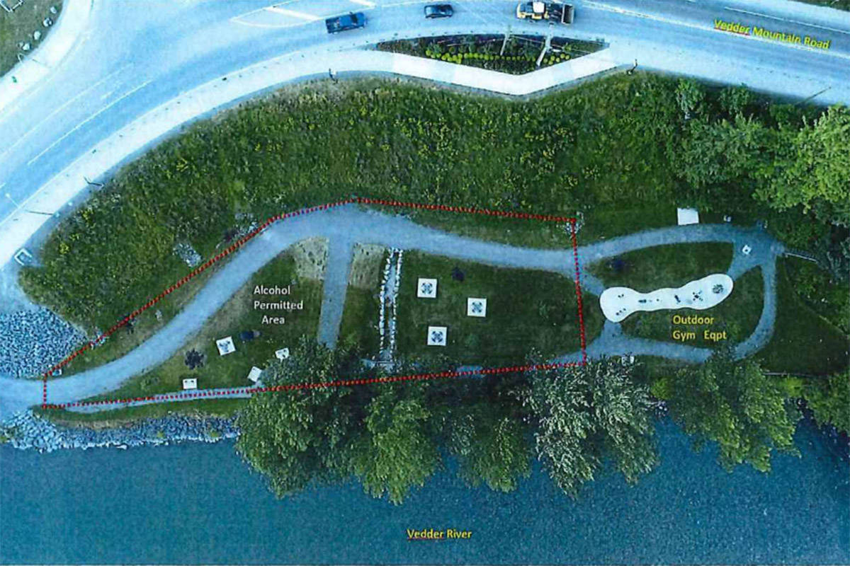 Crossing Park and the designated area where alcohol consumption will be allowed started August 18, 2020 as part of a pilot project. (City of Chilliwack)