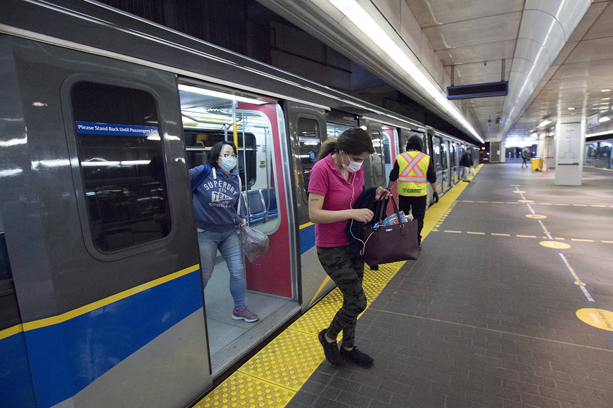 FILE – A near empty waterfront train platform is pictured in downtown Vancouver, Monday, April 20, 2020. THE CANADIAN PRESS/Jonathan Hayward