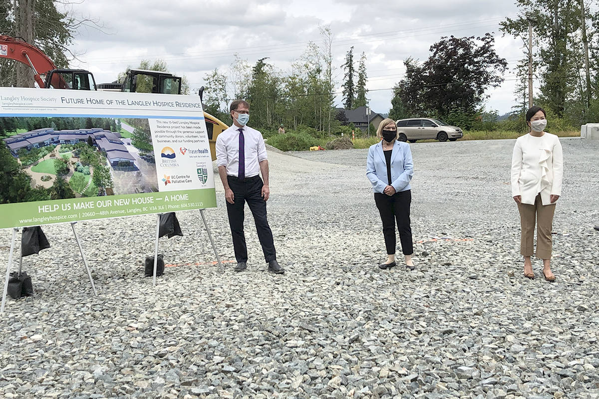 Health Minister Adrian Dix, Kathy Derksen, with the Langley Hospice Society, and Fraser Health CEO Dr. Victoria Lee announced the start of construction of the new 15-bed hospice residence in Murrayville n Friday, Aug. 8. (Hospice Society/Special to the Langley Advance Times)