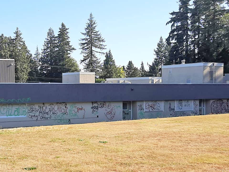 Someone applied graffiti to Simonds and Alice Brown schools in Langley sometime between Saturday night, Aug. 8, 2020 and Sunday morning (Victoria Hachulla/special to Langley Advance Times)