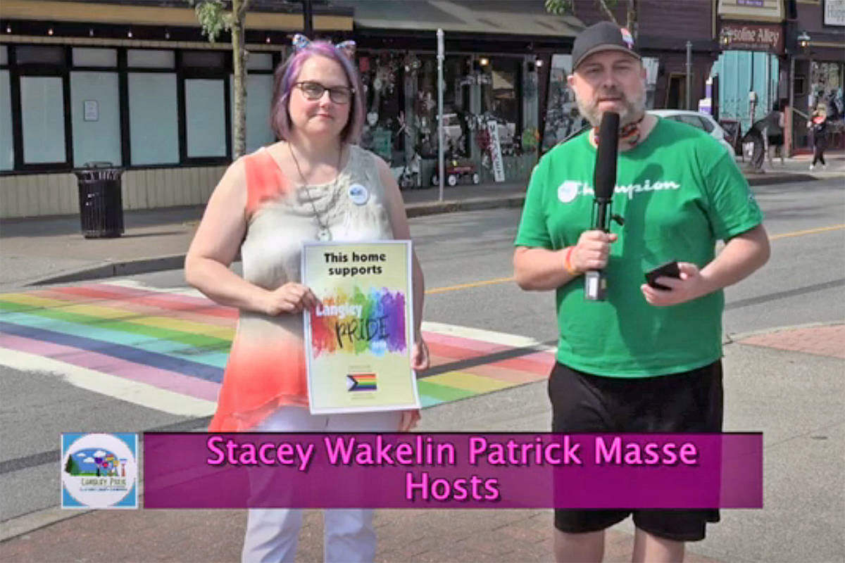 A virtual version of the first annual Langley Pride Fest, held on Friday and Saturday, Aug. 7 and 8, 2020, was hosted from the rainbow crosswalk on Glover Road in Fort Langley (from Langley Pride Fest video)