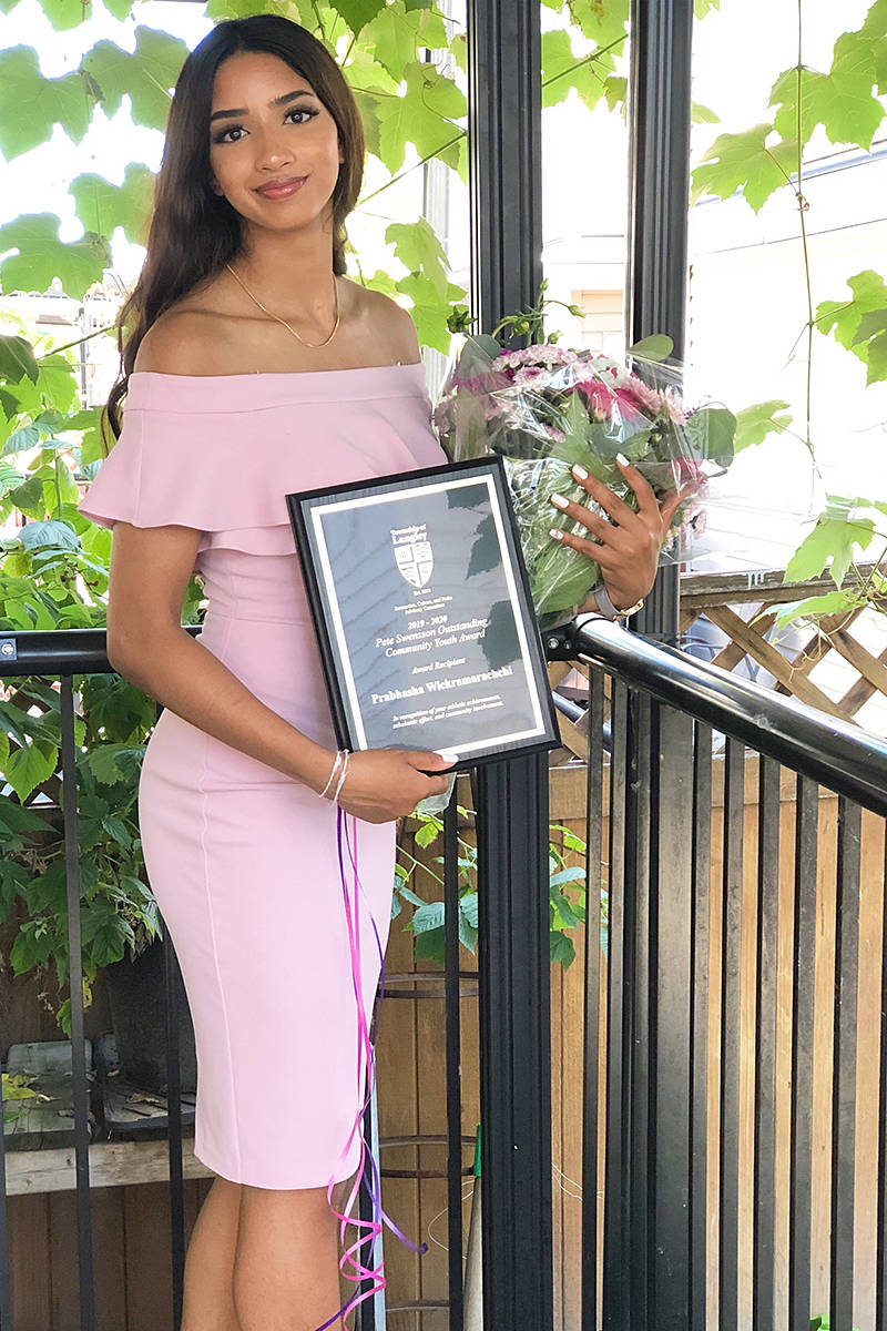 Walnut Grove's Prabhasha Wickramarachchi won the Pete Swensson Outstanding Community Youth Award in July of 2020 (supplied)