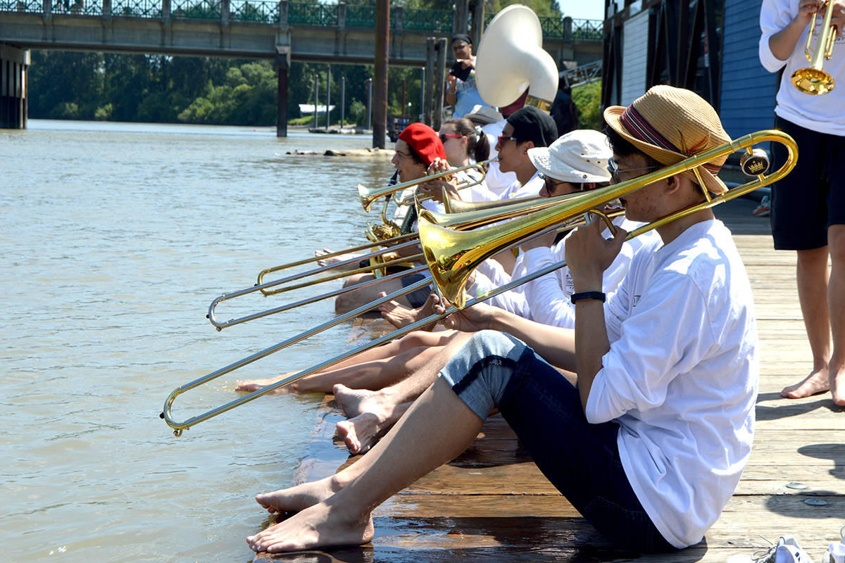 Noxious Obs Society from New Westminster Secondary had to cool down while playing a tune at the Fort Langley Jazz and Arts Festival's final day last year. (Langley Advance Times files)