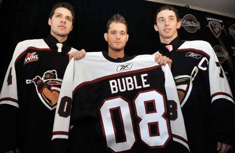 Co-owner of the Langley-based Vancouver Giants Michael Bublé (centre) will be awarded the highest honour in the province, the Order of British Columbia. Lt. Gov. Janet Austin made the announced of this year's 13 recipients on Aug. 3, 2020. The Canadian award winning artist still resides in Burnaby where he was born in 1975. (Dan O'Connor/Special to Langley Advance Times)