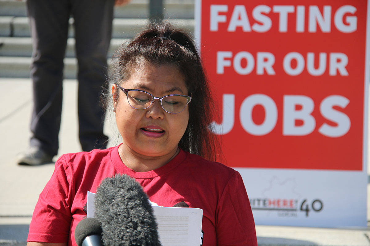 Naden Abenes was laid off from her jobs as a room attendant at the Hyatt Regency in Vancouver when the pandemic hit. She now worries about what will happen when government assistance ends. (Kendra Crighton/News Staff)