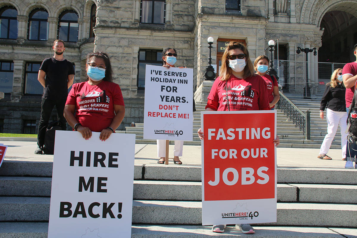Unite Here Local 40 says approximately 80 per cent of its members in Greater Victoria have been laid off due to the pandemic. (Kendra Crighton/News Staff)