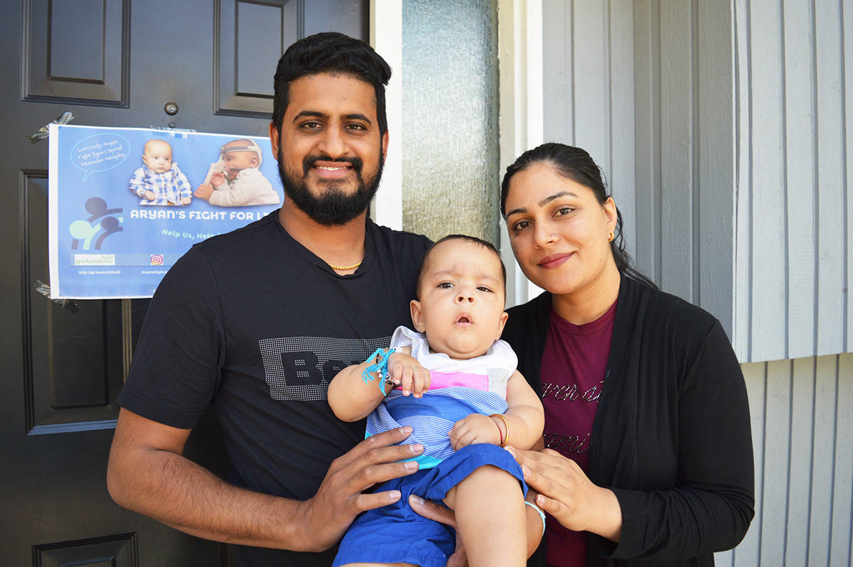 Aryan Singh Deol with his father Gaganpreet Singh Deol and mother Harpreet Kaur Deol outside the family's home in Surrey on Monday (Aug. 10). (Photo: Tom Zillich)