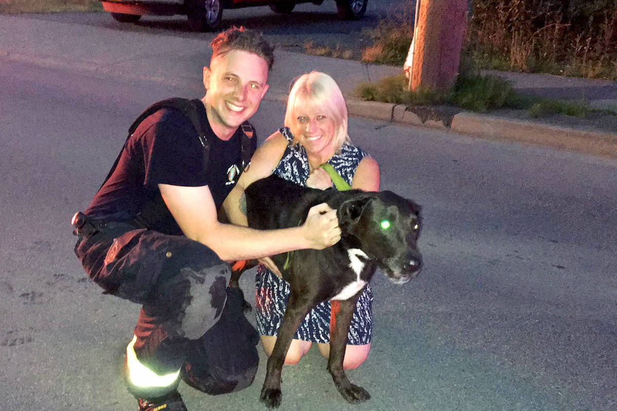 Michelle Buchan's dog Meelah was rescued by Langley City firefighters (one of whom is pictured) in the hours after her condo building was ravaged by fire on July 17.