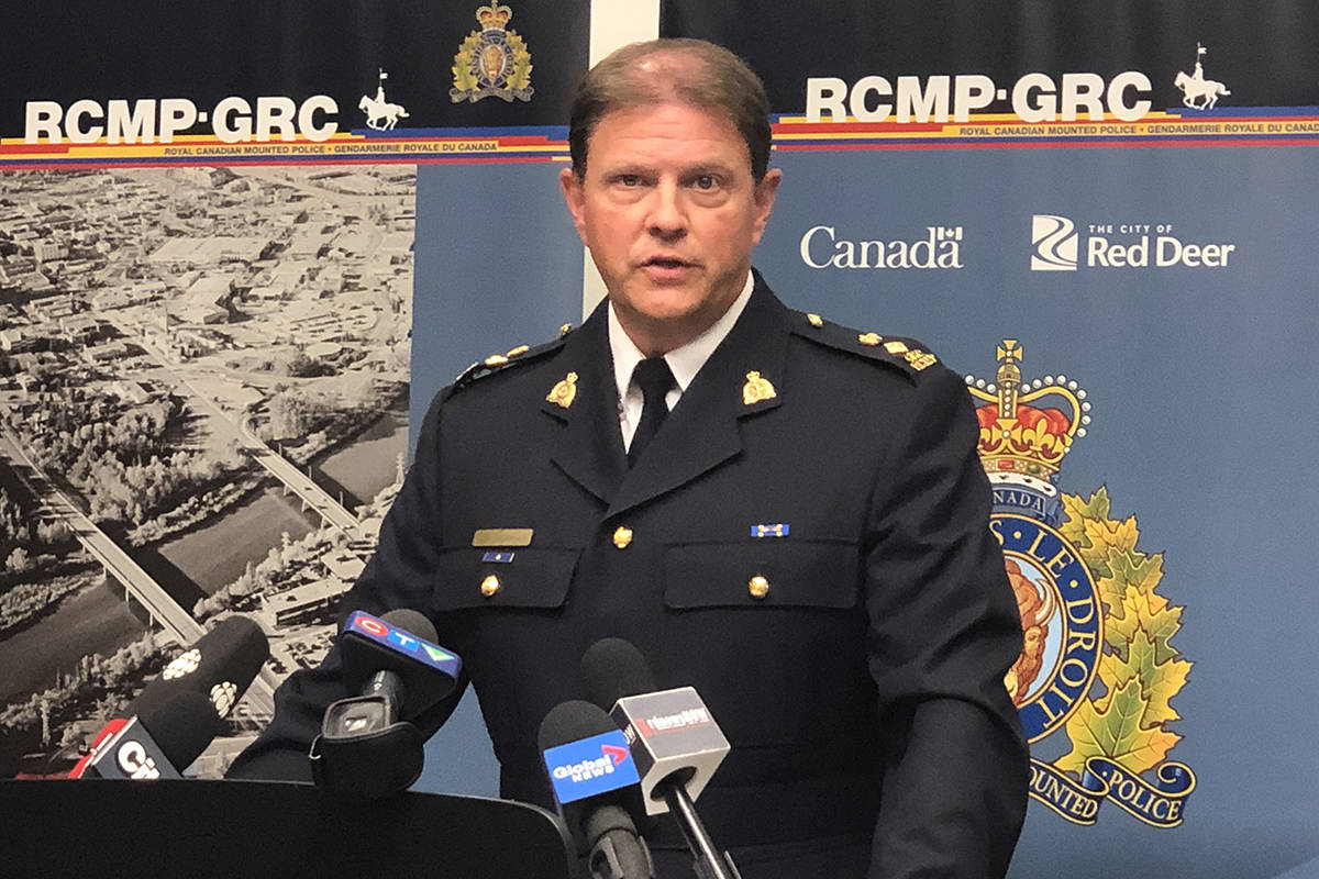 Red Deer RCMP Supt. Gerald Grobmeier at a news conference on Tuesday afternoon about the death of a Red Deer doctor on Monday. Photo from Mamta Lulla/Advocate staff