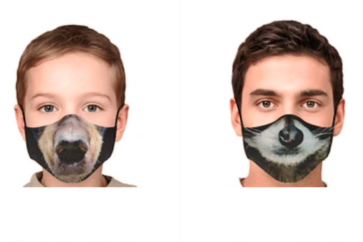 The Critter Care face coverings come in otter, black bear, raccoon, and fawn designs. (Critter Care/Website)