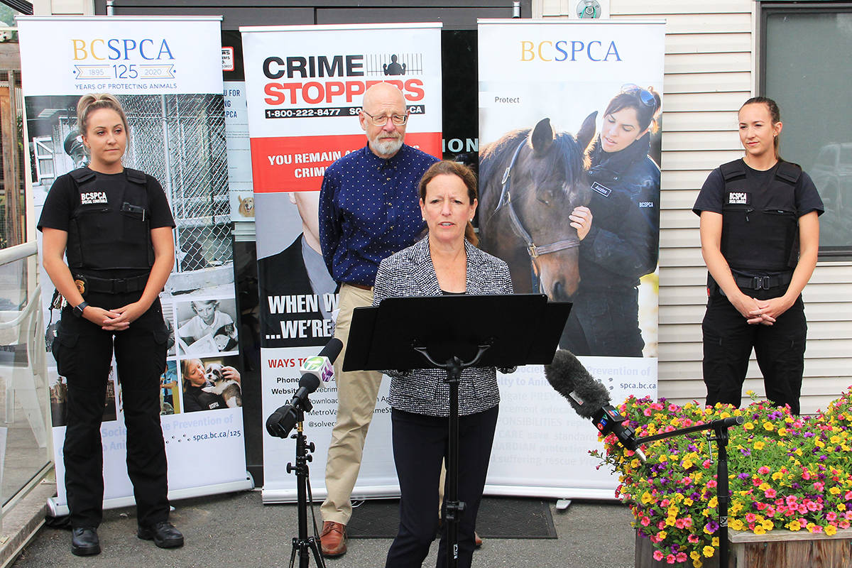 Linda Annis and Shawn Eccles announce a new partnership between Metro Vancouver Crime Stoppers and the BCSPCA Aug. 12. Annis, the executive director for Crime Stoppers, and Eccles, senior manager of Cruelty Investigations for the BCSPCA, are flanked by two BCSPCA special constables. (Photo:Malin Jordan)