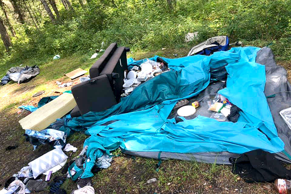Campers left a mess at a site in Cherryville over the weekend, as seen Sunday, Aug. 9, 2020, sparking concern from local residents who are asking elected officials and politicians to do something. (Contributed photo)